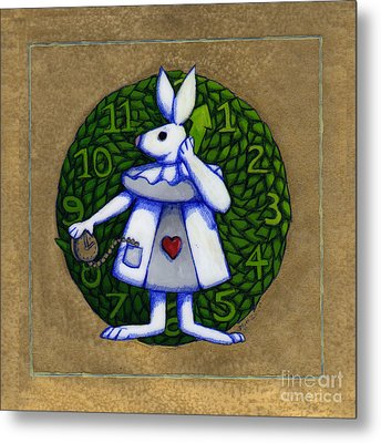 Metal Print featuring the mixed media White Rabbit Wonderland by Donna Huntriss
