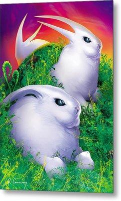 White Rabbits Metal Print by Robert Conway