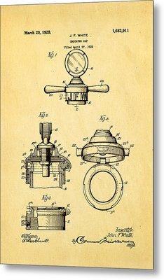 White Radiator Cap Patent Art 1928 Metal Print by Ian Monk