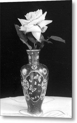 White Rose Antique Vase Metal Print