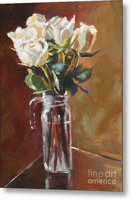 White Roses And Glass Metal Print by David Lloyd Glover