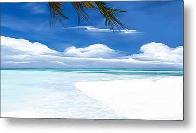 White Sand And Turquoise Sea Metal Print by Anthony Fishburne