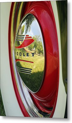 White Sidewalls On Chevy Metal Print by E Faithe Lester