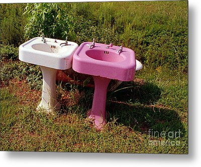 White Sink  Pink Sink Metal Print