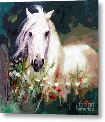 White Stallion In Wildflower Field Metal Print by Ginette Callaway