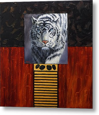 White Tiger Metal Print by Darice Machel McGuire