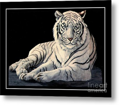 Metal Print featuring the painting White Tiger by DiDi Higginbotham
