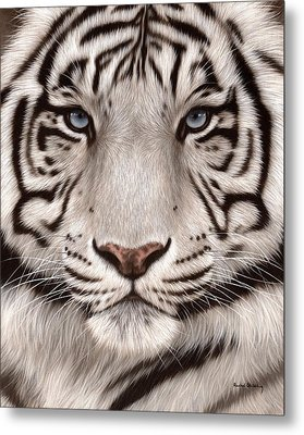 White Tiger Painting Metal Print