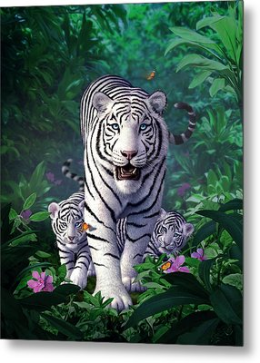 White Tigers Metal Print