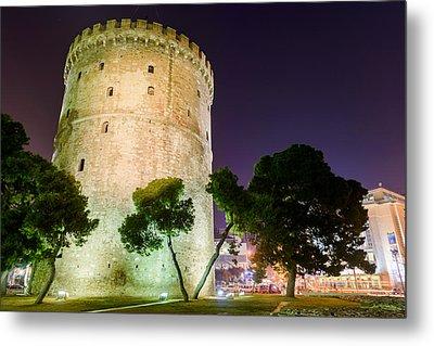 White Tower In Salonica Greece Metal Print by Sotiris Filippou