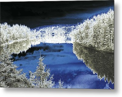 White Trees And River Metal Print