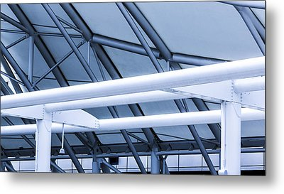 White Tube Blue Tube Metal Print