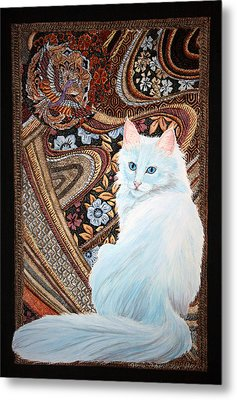 White Turkish Angora Metal Print