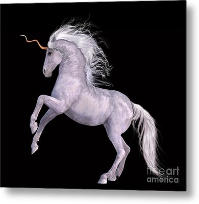 White Unicorn Black Background Half Rear Metal Print