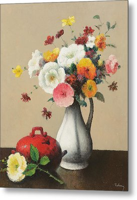 White Vase And Red Box Metal Print by Felix Elie Tobeen