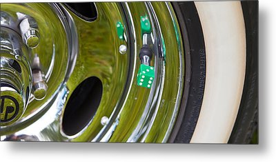 Metal Print featuring the photograph White Wall Tyre Chrome Rim And Dice by Mick Flynn