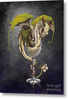 White Wine Dragon Metal Print