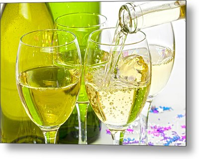 White Wine Pouring Into Glasses Metal Print