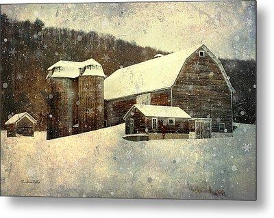 White Winter Barn Metal Print by Christina Rollo