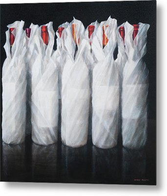 White Wrapped Wine Metal Print by Lincoln Seligman