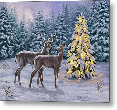 Whitetail Christmas Metal Print