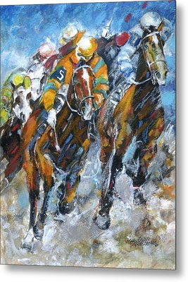 Metal Print featuring the painting Who Is Really Winning by Mary Armstrong