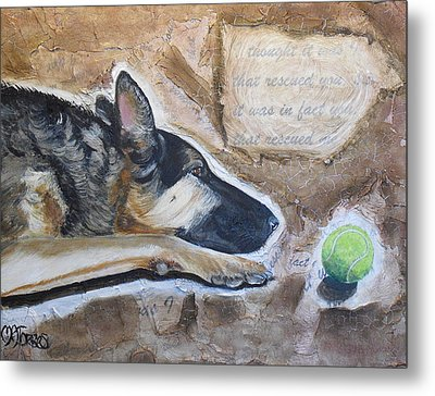 Who Rescued Who Metal Print by Melissa Torres