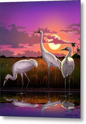 Whooping Cranes Tropical Florida Everglades Sunset Birds Landscape Scene Purple Pink Print Metal Print by Walt Curlee