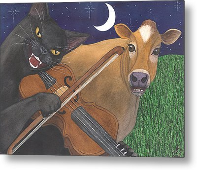 Wicked Kittys Got The Fiddle Metal Print by Catherine G McElroy