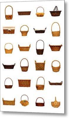 Wicker Basket Collection Metal Print by Olivier Le Queinec