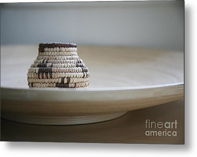 Wicker On Wood Metal Print