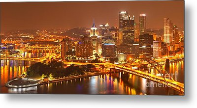 Wide Angle Pittsburgh Cityscape Metal Print by Adam Jewell