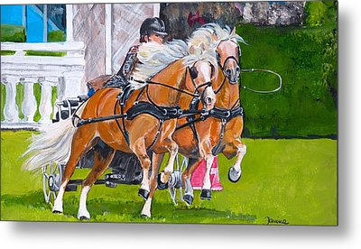 Metal Print featuring the painting Widescreen Hickstead by Janina  Suuronen