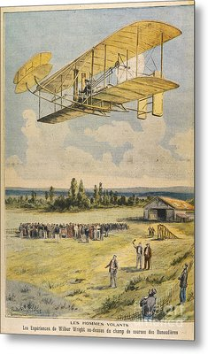 Wilbur Wright Airborne Metal Print by Mary Evans Picture Library
