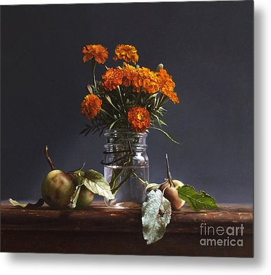 Wild Apples And Marigolds Metal Print by Larry Preston