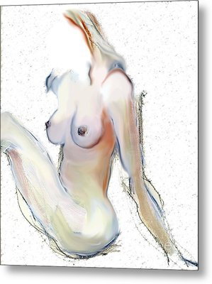 Metal Print featuring the mixed media Wild - Female Nude by Carolyn Weltman