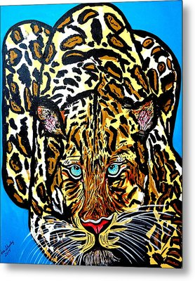 Metal Print featuring the painting Wild Cat by Nora Shepley