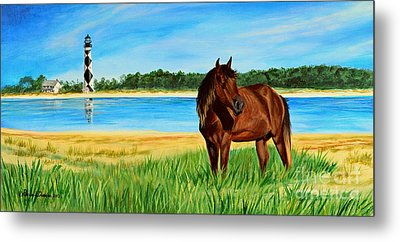 Wild Horse Near Cape Lookout Lighthouse Metal Print by Patricia L Davidson