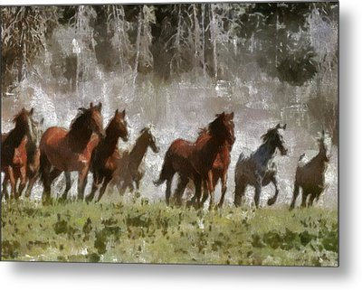 Metal Print featuring the painting Wild Horses by Georgi Dimitrov
