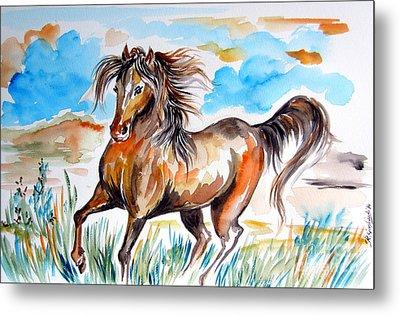 Wild Mustang Water Color Metal Print by Roberto Gagliardi