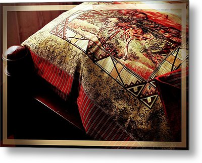 Wild Mustangs On A Quilt Metal Print