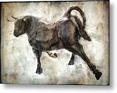 Wild Raging Bull Metal Print by Daniel Hagerman