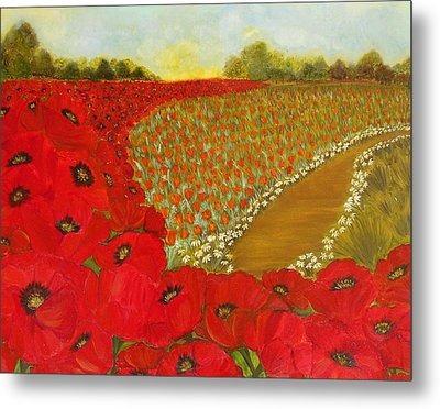 Wild Red Poppies Metal Print