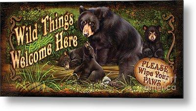 Wild Things Bear Metal Print by Lucia Guarnotta