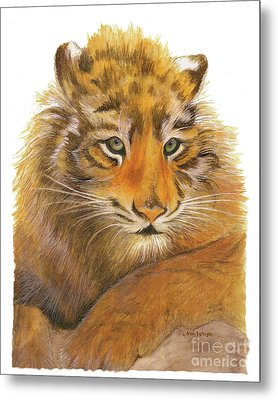 Metal Print featuring the painting Wild Tiger Cub by Nan Wright