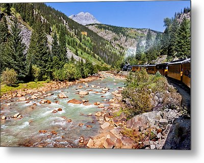 Wild West Train Ride Along The Animas River From Durango To Silverton Colorado Metal Print