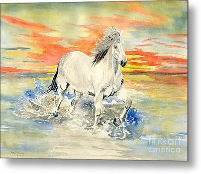 Wild White Horse Metal Print