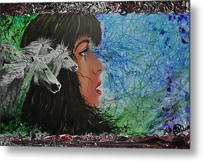 Wild With The Horses Metal Print by Stefanie M Valverde