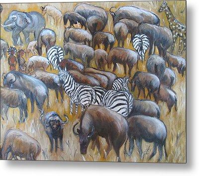 Wildebeest Migration In Kenya Metal Print