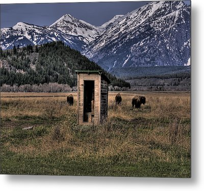 Wilderness Outhouse Metal Print by CR  Courson